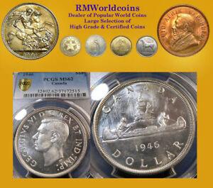 Canada 1946 Dollar, Rare PCGS 62++ Brilliant, Sharp Detail, Undergraded, Beauty.