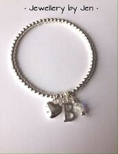 Personalised Heart, Initial & Crystal Silver Plated Stacking Bracelet ~ Handmade