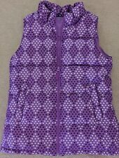 LANDS END Girl's Size 16 XL Purple Hearts Down Quilted Jacket Vest NEW Winter