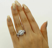 2.50ct Round Diamond Halo Engagement Bridal Band Ring Set In 14k White Gold Over