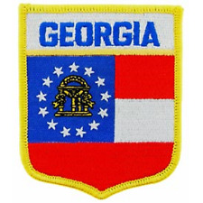 "Georgia State Flag Shield Patch   2-7/8"" X 3-1/2""  Sew/Iron-on"