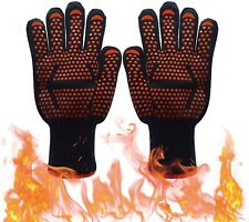 2pcs 932°F Silicone Extreme Heat Resistant Cooking Oven Mitt BBQ Grilling Gloves