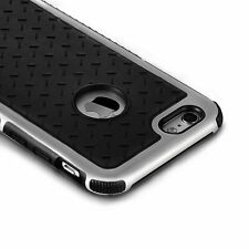iPhone 6 case,Protective Silicone Bumper Slim Soft Black Silver Back Panel Cover