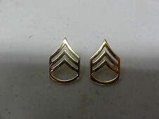 MILITARY INSIGNIA RANK US ARMY SET OF 2 FOR COLLAR STAFF SERGEANT GOLD COLOR NEW