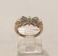 Vintage 10K Yellow Gold Diamond Bow Ring