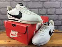 NIKE LADIES UK 4.5 EU 38 CLASSIC CORTEZ LEATHER WHITE BLACK TRAINERS RRP £65 M