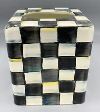 MacKenzie Childs Courtly Check Square Enamel Tissue Box Cover Holder Black-Ivory