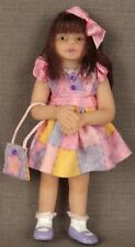 Ooak Polymer Clay Little Girl Doll Brown Hair Pink & Purple Dress, Shoes, Bow