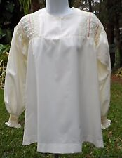 Well-Made Off-White LS EthnicLook Blouse w/Hand Smocked Bodice, Sleeve Cuffs S-M