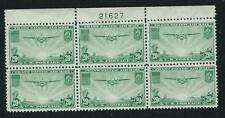 SCOTT C21 1937, 20 CENT CHINA CLIPPER AIRMAIL ISSUE PB OF 6 MH OG VF CAT $85!