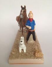 Tintin et Milou figurine statuette scène plâtre Tintin en Amérique Cowboy