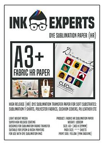 A3+ Fabric HR 100g Sublimation Transfer Paper 50 Sheet for T-Shirt & Fabrics
