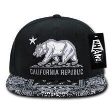 Black California Republic Cali Bandana Flat Bill Snapback Snap Back Ball Cap Hat