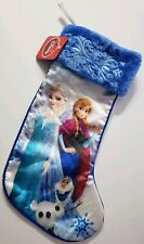 Disney Frozen Christmas Holiday Stocking With Tag Blue Fuzzy Elsa Anna Olaf