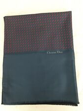 Vintage Christian Dior Navy Blue Red Print Silk/ Navy Blue Wool Reversible Scarf