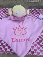 Personalised Pink Dolly Baby Blankie Comforter. New Baby Girls Gift. From Birth