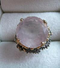 925 STERLING SILVER GOLD RHODIUM ROSE QUARTZ ROUND RING SZ O US 7.5 25 Carats