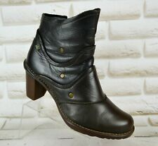 EL NATURALISTA Brown Leather Womens Heeled Boots Slip On Booties Size 5 UK 38 EU