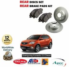 FOR SSANGYONG KORANDO 2.0 EXDI 4X2 WD 2010-> REAR BRAKE DISC SET & DISC PADS KIT