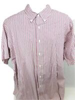 Brooks Brothers Men's 346 Sport Shirt XL Red Striped Short Sleeve