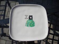 Rae Dunn Magenta Brand Christmas Bear Plate Platter Peace On Earth