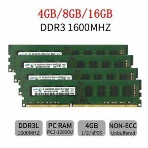 16GB 8GB 4G DDR3L 1600Mhz PC3L-12800 240Pin 1.35V Desktop Memory RAM Samsung LOT