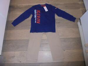 NWT Gymboree beige pants & blue long sleeve shirt outfit set Flight School 6