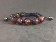NEW MENS Red Tiger Eye Natural Gemstone Beads Shamballa Beaded Jewelry Bracelet