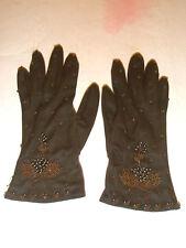 Vintage DENTS Ladies Fashion Gloves Beads Brown