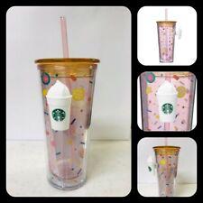 2019 Starbucks Japan Handle Tumbler Cup Pink Happy Straw Kawaii Cute Heart NEW