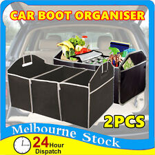 2x Black 3in1 Foldable Collapsible Car Boot Organiser Shopping Tidy Storage Bag