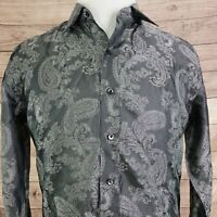 "BRIONI LONG SLEEVE GRAY PAISLEY BUTTON UP DRESS SHIRT *NO SIZE TAG* 22"" CHEST M?"