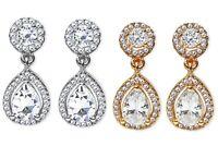 CZ Diamante Drop Dangle Clip On Earrings Crystal Bridal Non Pierced Oval UK