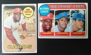 2x low grade 1969 Topps Bob Gibson cards, #200 & #12 K Leaders- VG