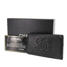 CHANEL CC Logos Key Case Black Caviar Skin Leather Vintage Italy Auth #JJ863 O