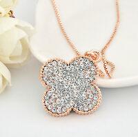 18K Rose GOLD GF Swarovski Crystal 3CM Four Leaf Clover Lucky Pendant Necklace