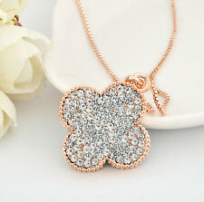 18K Rose GOLD GF Swarovski Crystal 3CM Four Leaf Clover Lucky Pendant Necklace