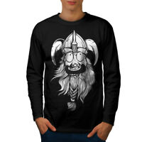 Wellcoda Crazy North Joke Mens Long Sleeve T-shirt, Nordic Graphic Design