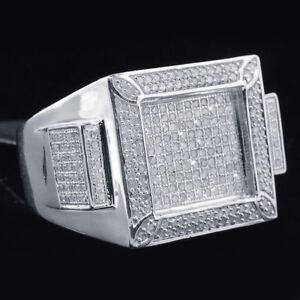 2.Ct 14K White Gold Over Men's Round Diamond Wedding Engagement Pinky Ring Band