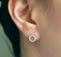 0.50ct Round Diamond Open Circle Stud Earrings For Womens In 14k White Gold Over