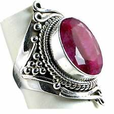 GENUINE RUBY_UNIQUE SWIRL HAND TOOLED RING_SZ-9__925 STERLING SILVER-NF