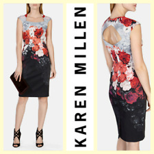 Karen Millen $279 floral rose print stretch satin finish sheath pencil dress~M/S