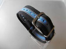 Uhrenarmband Nylon 20 mm schwarz grau blau NATO BAND Dornschließe Textil