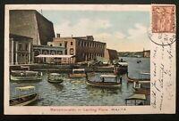 1906 Malta Picture Postcard Cover to Boston Ma USA Landon Place View