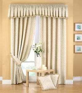 FOLIA LUXURY HEAVY THICK JACQUARD FULLY LINED PENCIL PLEAT BOUCLE TRIM CURTAINS
