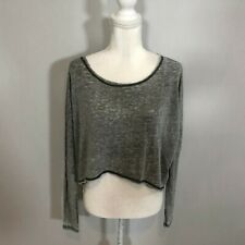 Z Supply Women Long Sleeve Crop Top Shirt Blouse Size XS Grey Casual - C16