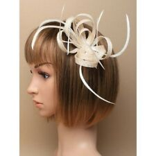 Cream Looped Sinamay & Feather Fascinator on Spring Clip/ Pin (CJ905)