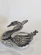 Vintage 925 Sterling Silver & Crystal Swan Salt With Silver Cherub Salt Spoon