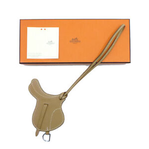 Authentic HERMES Paddock Selle Charm Brown Leather #W504047