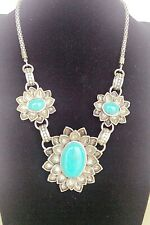 Trendy Vintage Tibet Silver Oval Shape Turquoise Stone Flower Pendant Necklace